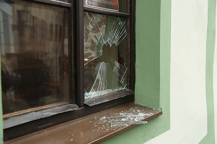 A2B Glass are able to board up broken windows while they are being repaired in Harold Hill.